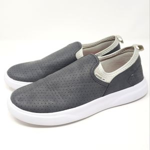 Speedo Logo Gray Perforated Slip On Loafers Small